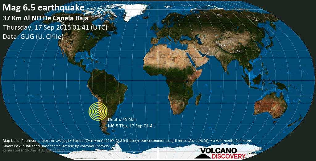 Strong mag. 6.5 earthquake  - 37 km al NO de Canela Baja on Thursday, 17 September 2015