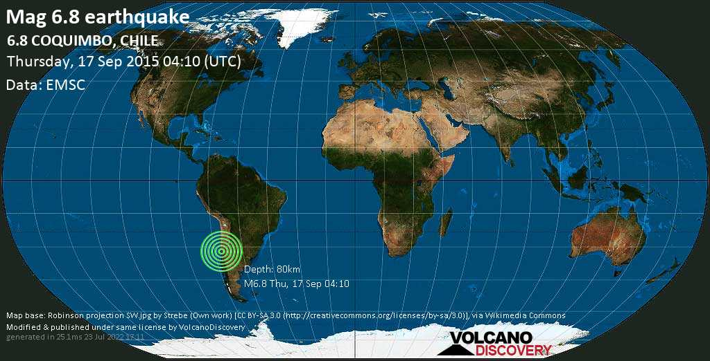 Strong mag. 6.8 earthquake  - 6.8  COQUIMBO, CHILE on Thursday, 17 September 2015