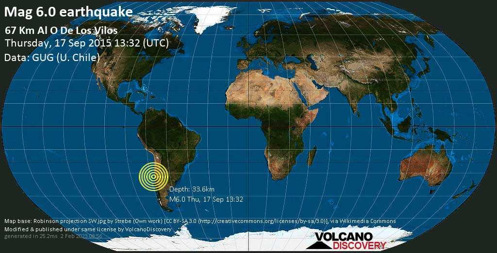 Strong mag. 6.0 earthquake  - 67 km al O de Los Vilos on Thursday, 17 September 2015