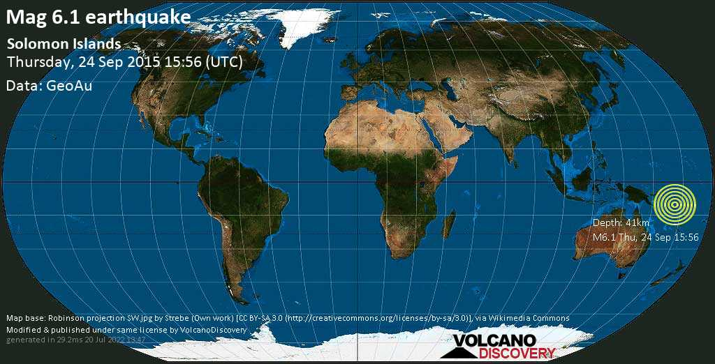 Strong mag. 6.1 earthquake  - Solomon Islands on Thursday, 24 September 2015