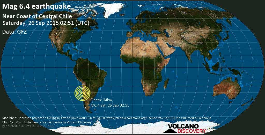 Strong mag. 6.4 earthquake  - Near Coast of Central Chile on Saturday, 26 September 2015