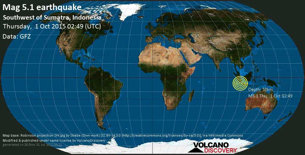Moderate mag. 5.1 earthquake  - Southwest of Sumatra, Indonesia on Thursday, 1 October 2015