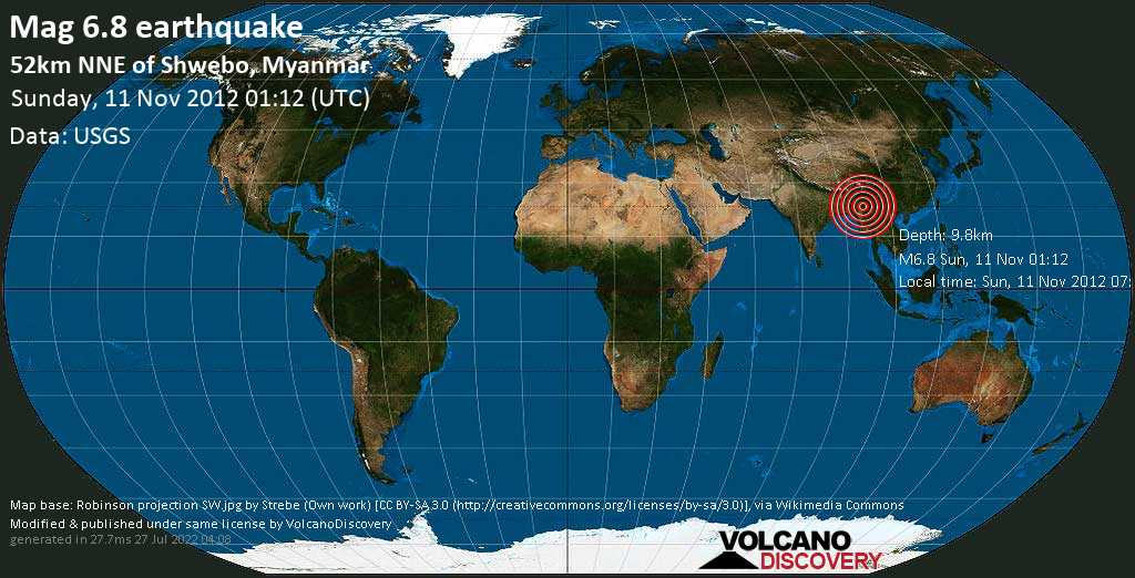 Strong mag. 6.8 earthquake  - 52km NNE of Shwebo, Myanmar on Sunday, 11 November 2012