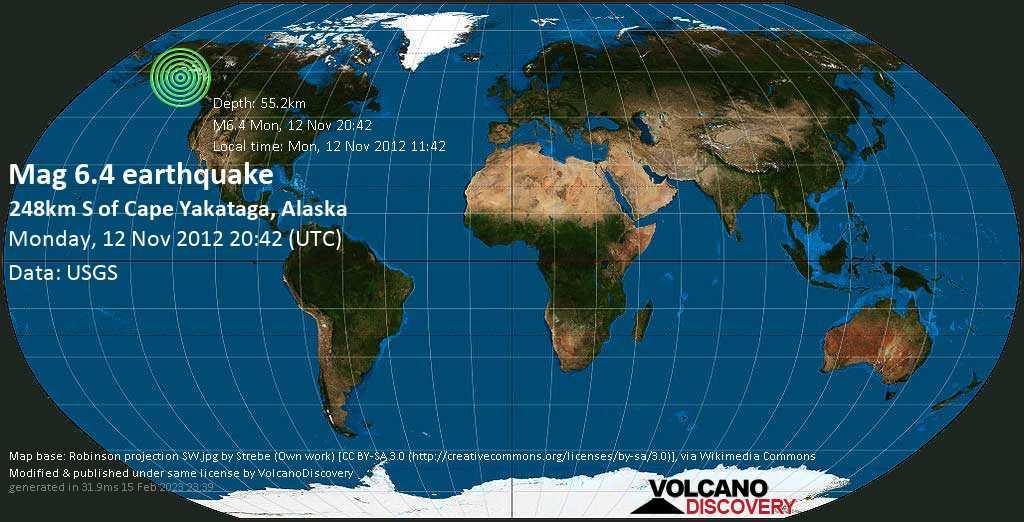 Strong mag. 6.4 earthquake  - 248km S of Cape Yakataga, Alaska on Monday, 12 November 2012