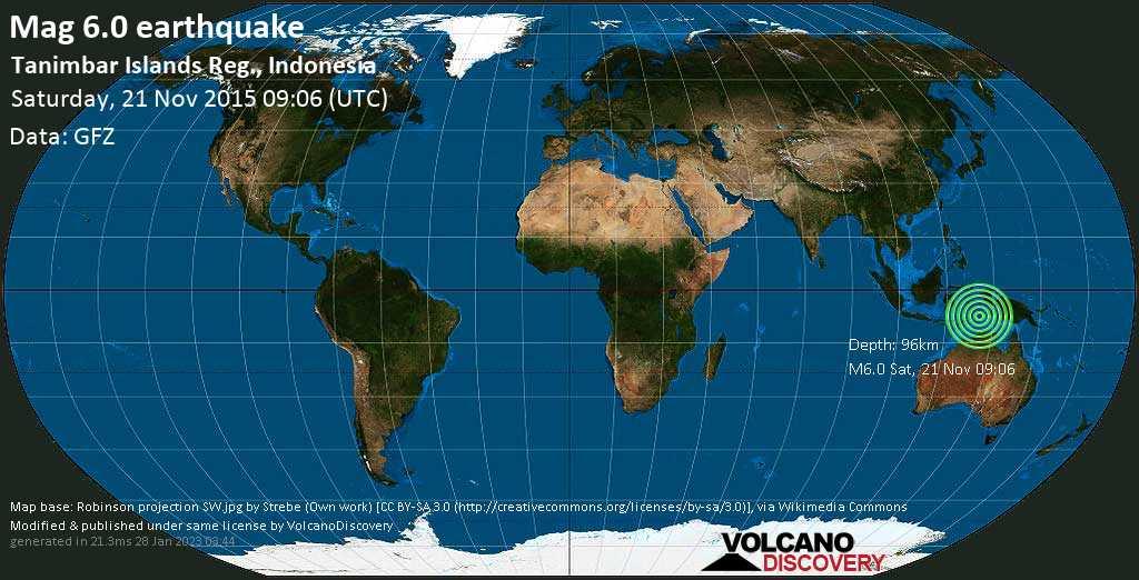 Forte terremoto magnitudine 6.0 - Tanimbar Islands Reg., Indonesia sábbato, 21 novembre 2015