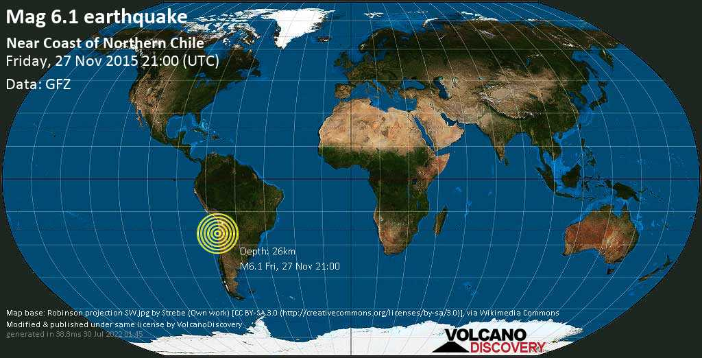 Strong mag. 6.1 earthquake  - Near Coast of Northern Chile on Friday, 27 November 2015