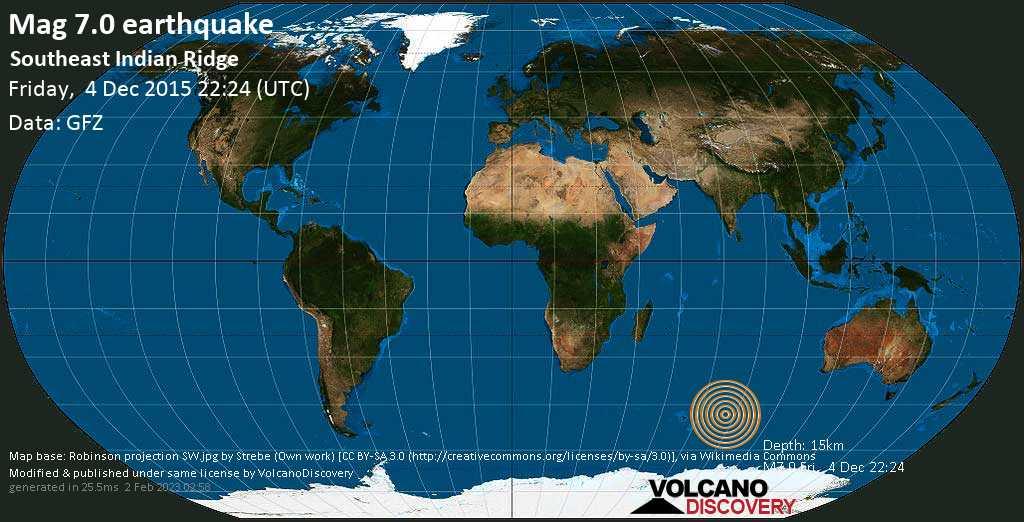 Major mag. 7.0 earthquake  - Southeast Indian Ridge on Friday, 4 December 2015