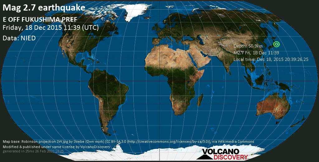Minor mag. 2.7 earthquake  - E OFF FUKUSHIMA PREF on Friday, 18 December 2015