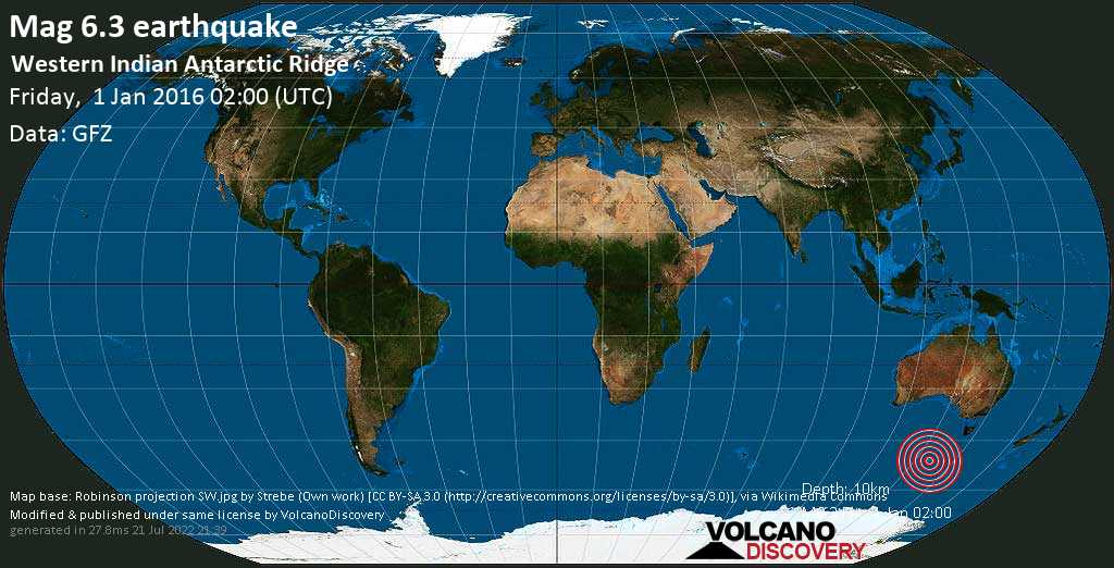 Strong mag. 6.3 earthquake  - Western Indian Antarctic Ridge on Friday, 1 January 2016