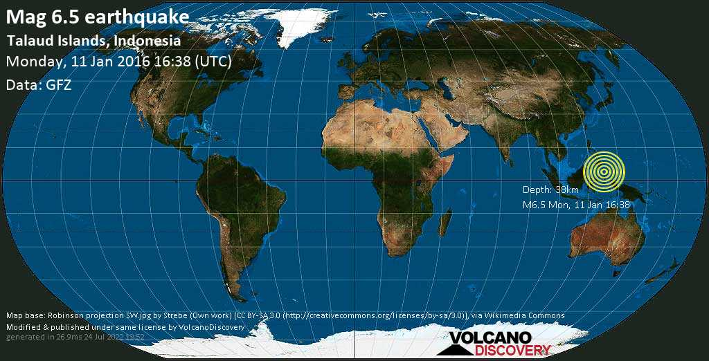 Strong mag. 6.5 earthquake  - Talaud Islands, Indonesia on Monday, 11 January 2016