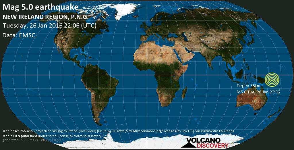 Moderate mag. 5.0 earthquake  - NEW IRELAND REGION, P.N.G. on Tuesday, 26 January 2016