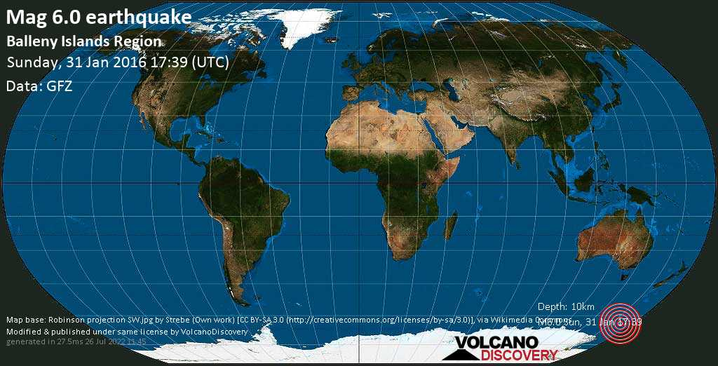 Strong mag. 6.0 earthquake  - Balleny Islands Region on Sunday, 31 January 2016