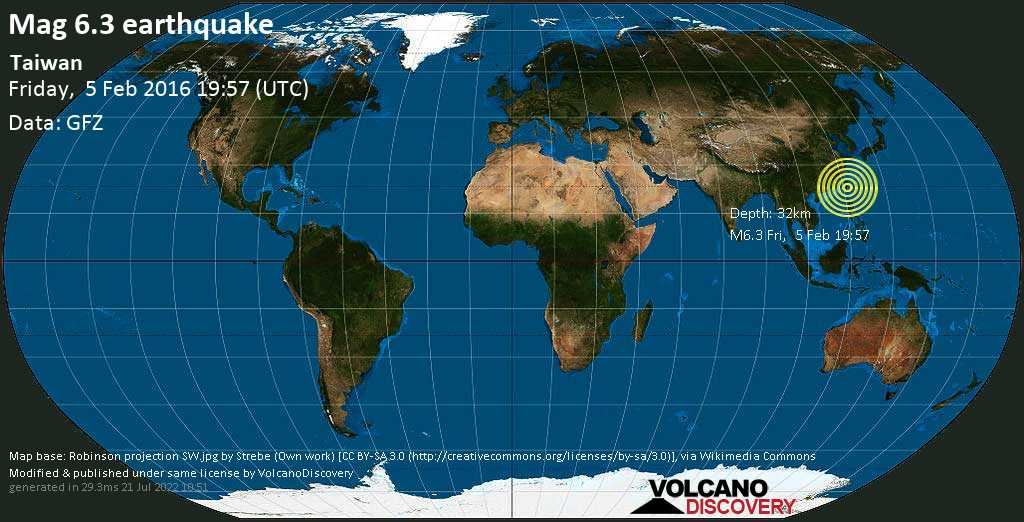 Strong mag. 6.3 earthquake  - Taiwan on Friday, 5 February 2016