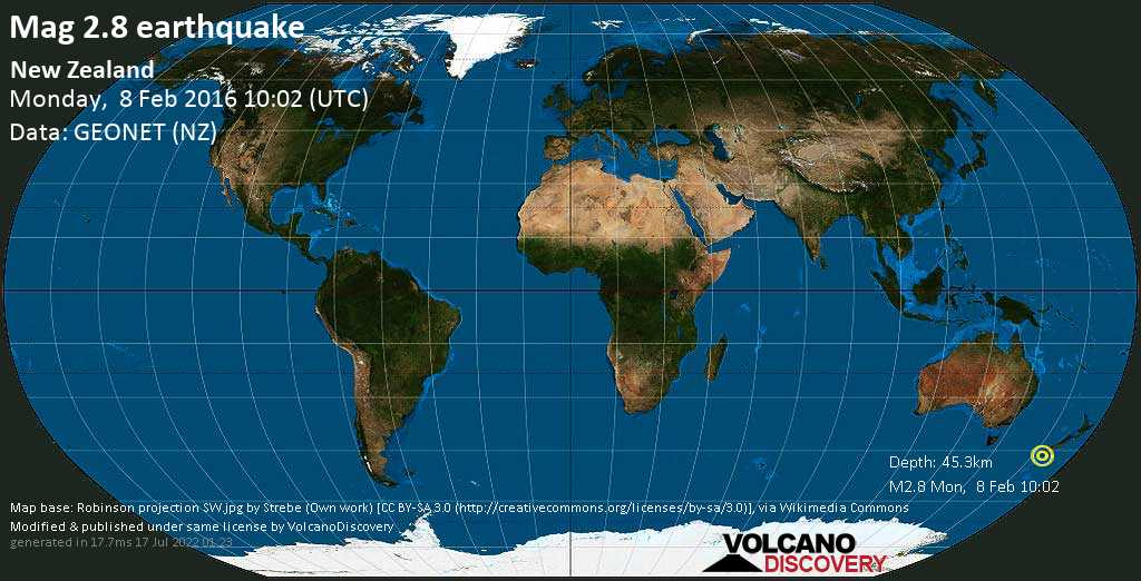 Minor mag. 2.8 earthquake  - New Zealand on Monday, 8 February 2016