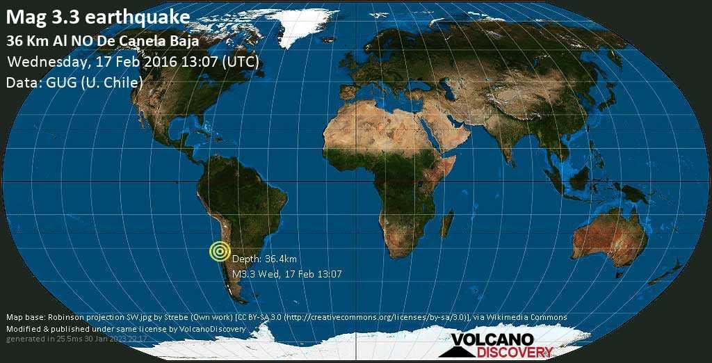 Minor mag. 3.3 earthquake  - 36 km al NO de Canela Baja on Wednesday, 17 February 2016