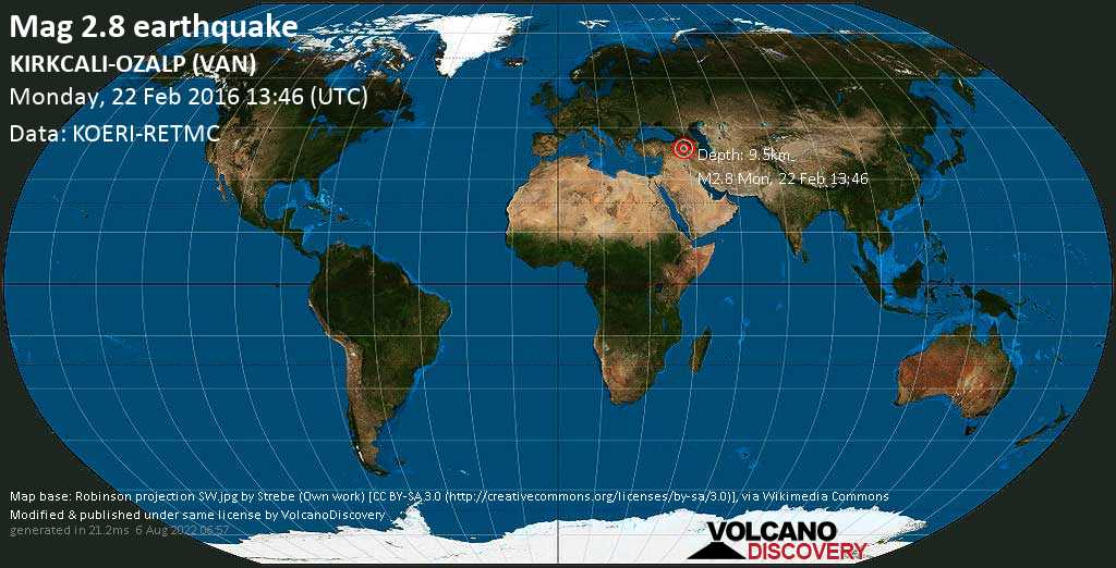 Minor mag. 2.8 earthquake  - KIRKCALI-OZALP (VAN) on Monday, 22 February 2016