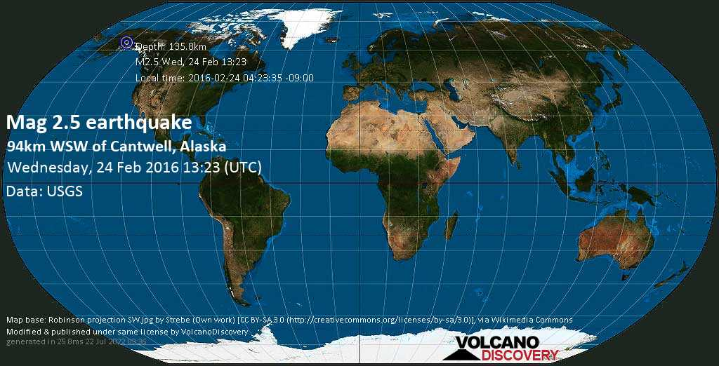 Minor mag. 2.5 earthquake  - 94km WSW of Cantwell, Alaska on Wednesday, 24 February 2016
