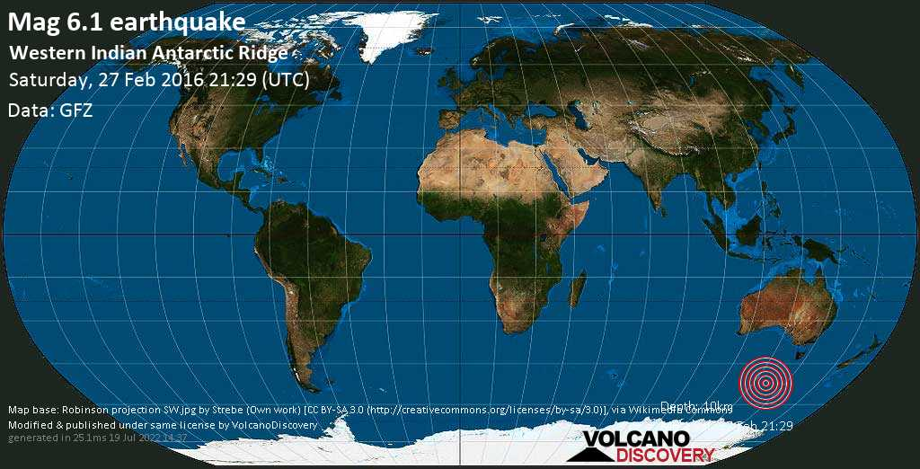 Strong mag. 6.1 earthquake  - Western Indian Antarctic Ridge on Saturday, 27 February 2016