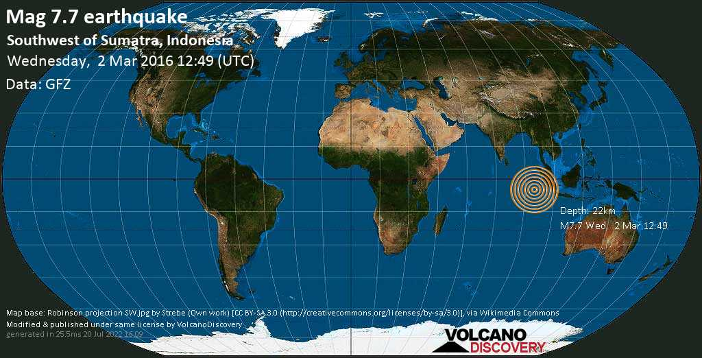 Major mag. 7.7 earthquake  - Southwest of Sumatra, Indonesia on Wednesday, 2 March 2016