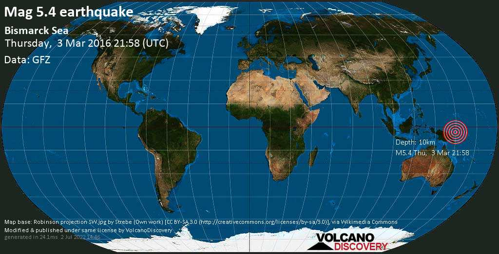 Moderate mag. 5.4 earthquake  - Bismarck Sea on Thursday, 3 March 2016