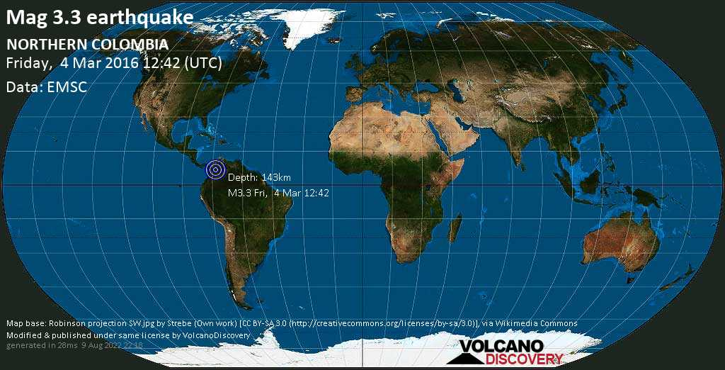 Minor mag. 3.3 earthquake  - NORTHERN COLOMBIA on Friday, 4 March 2016