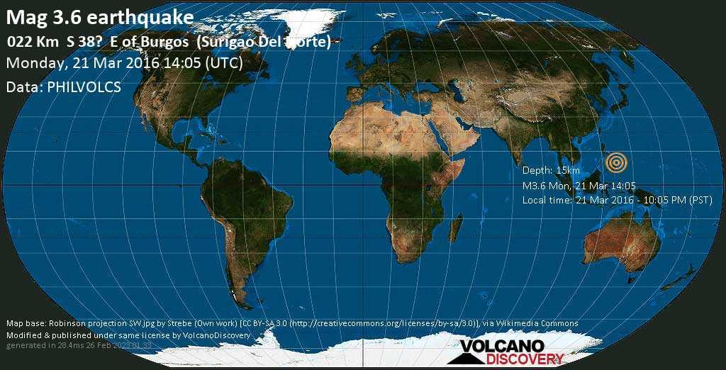 Minor mag. 3.6 earthquake  - 022 km    S 38?    E of Burgos    (Surigao del Norte) on Monday, 21 March 2016