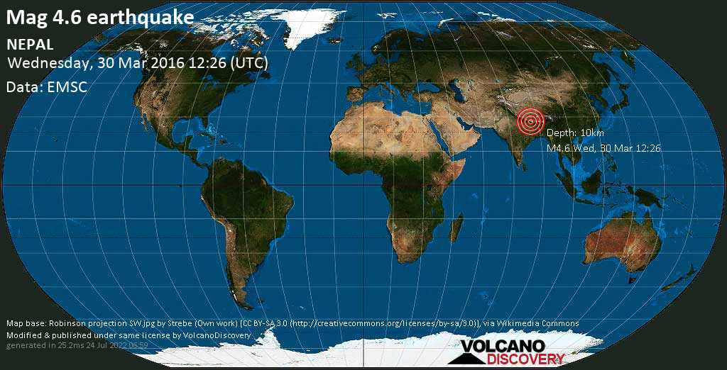 Light mag. 4.6 earthquake  - NEPAL on Wednesday, 30 March 2016