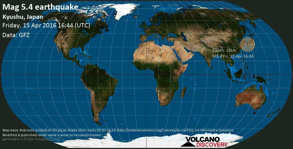 Moderate mag. 5.4 earthquake  - Kyushu, Japan on Friday, 15 April 2016