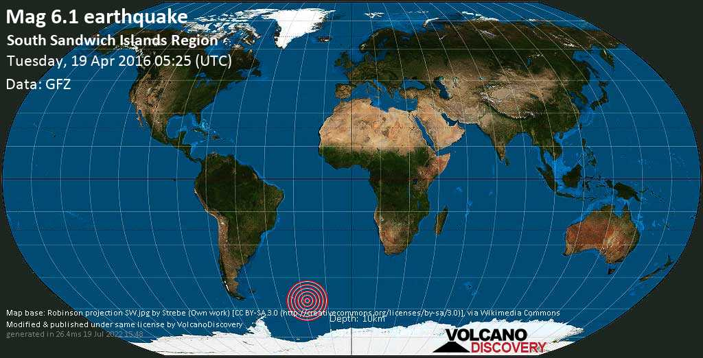Strong mag. 6.1 earthquake  - South Sandwich Islands Region on Tuesday, 19 April 2016