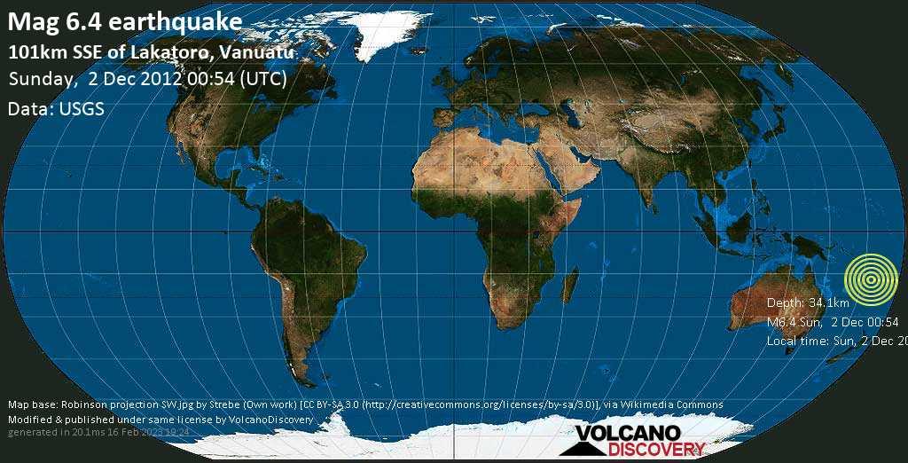 Strong mag. 6.4 earthquake  - 101km SSE of Lakatoro, Vanuatu on Sunday, 2 December 2012