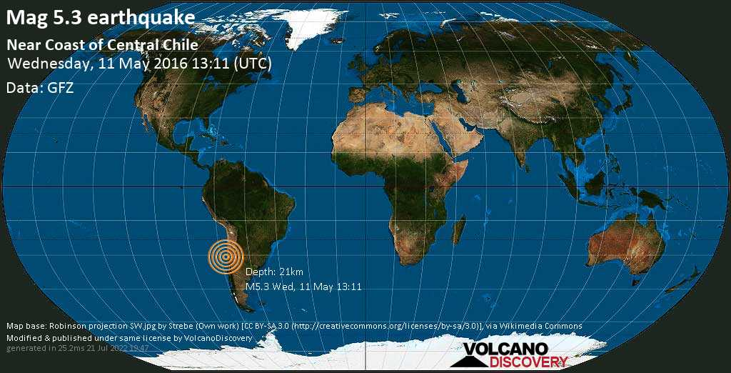 Moderate mag. 5.3 earthquake  - Near Coast of Central Chile on Wednesday, 11 May 2016