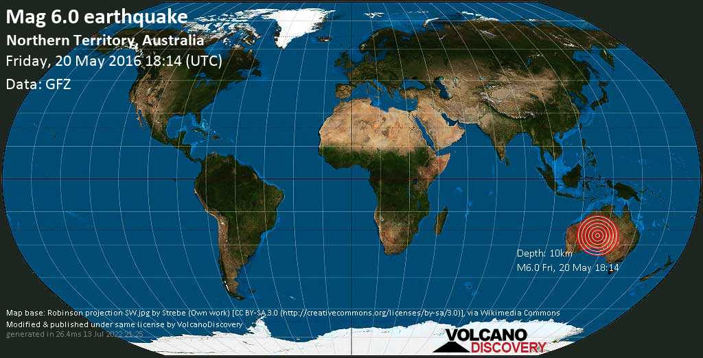 Strong mag. 6.0 earthquake  - Northern Territory, Australia on Friday, 20 May 2016