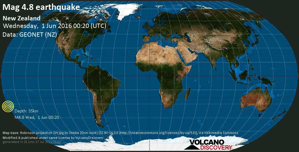 Light mag. 4.8 earthquake  - New Zealand on Wednesday, 1 June 2016