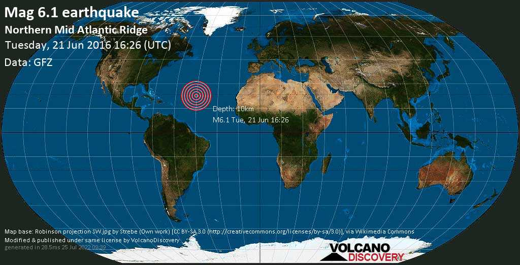 Strong mag. 6.1 earthquake  - Northern Mid Atlantic Ridge on Tuesday, 21 June 2016