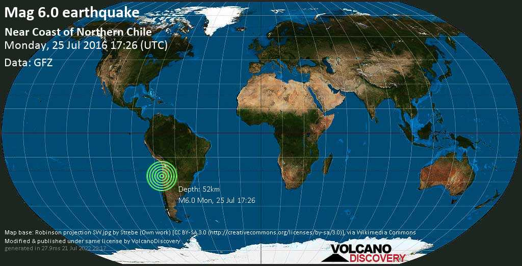 Strong mag. 6.0 earthquake  - Near Coast of Northern Chile on Monday, 25 July 2016