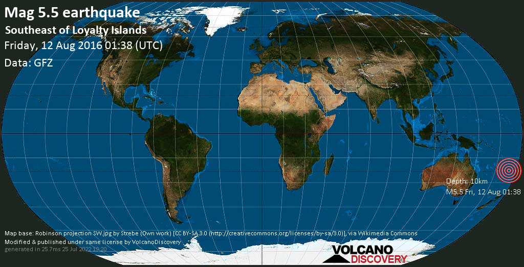 Moderate mag. 5.5 earthquake  - Southeast of Loyalty Islands on Friday, 12 August 2016