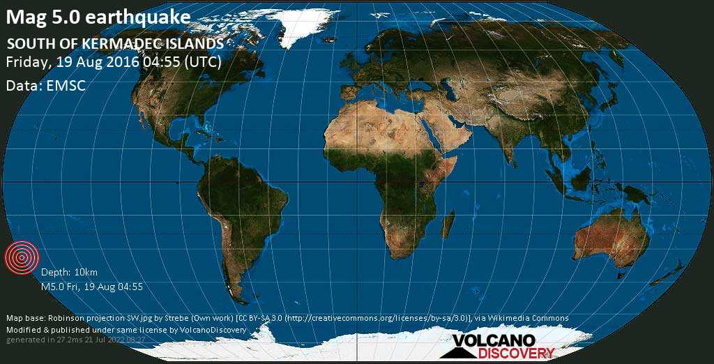 Moderate mag. 5.0 earthquake  - SOUTH OF KERMADEC ISLANDS on Friday, 19 August 2016