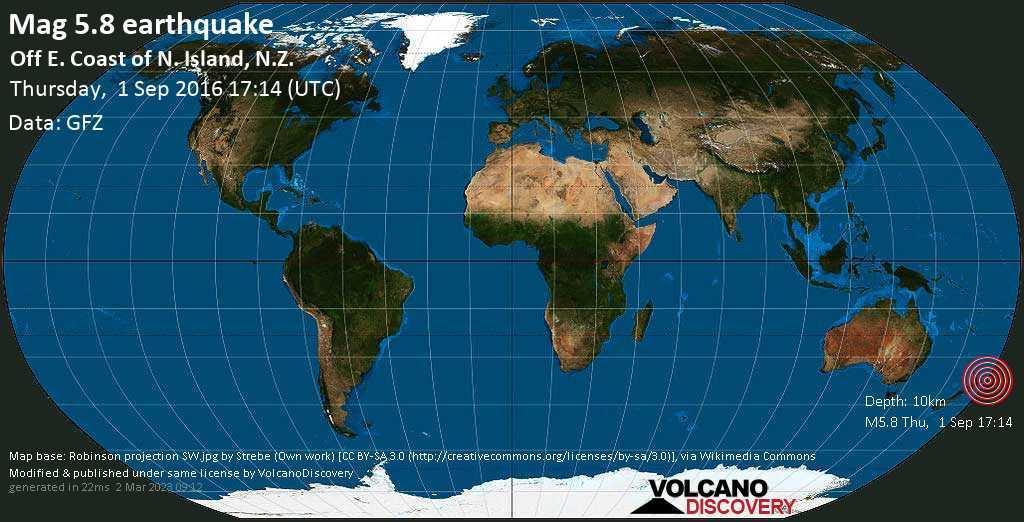Moderate mag. 5.8 earthquake  - Off E. Coast of N. Island, N.Z. on Thursday, 1 September 2016