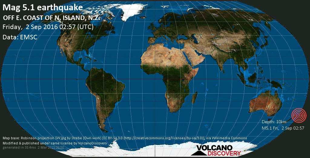 Moderate mag. 5.1 earthquake  - OFF E. COAST OF N. ISLAND, N.Z. on Friday, 2 September 2016