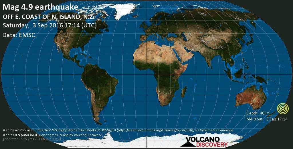 Light mag. 4.9 earthquake  - OFF E. COAST OF N. ISLAND, N.Z. on Saturday, 3 September 2016
