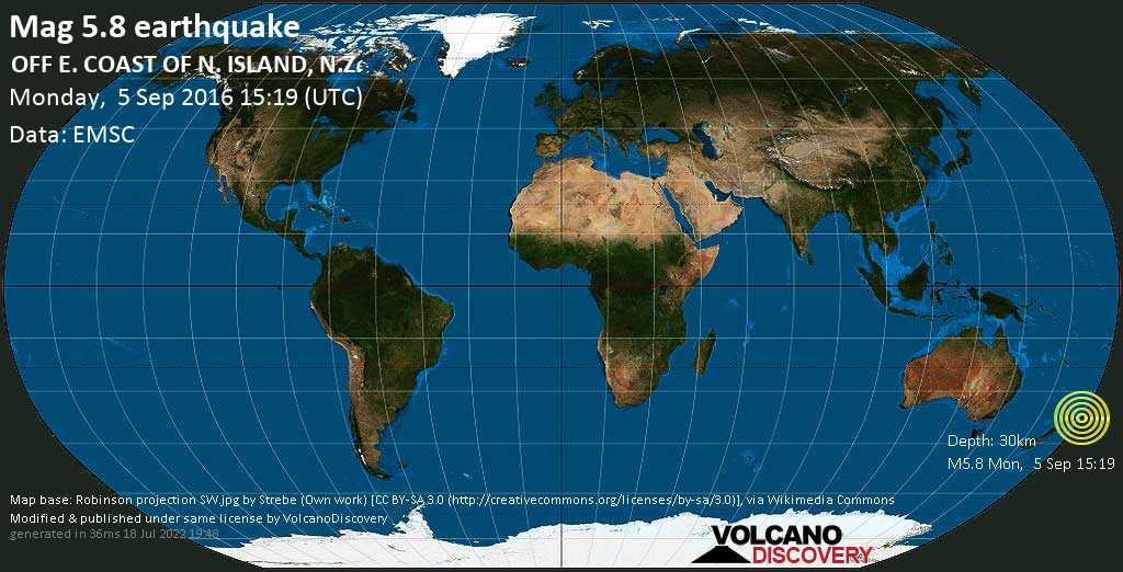 Moderate mag. 5.8 earthquake  - OFF E. COAST OF N. ISLAND, N.Z. on Monday, 5 September 2016