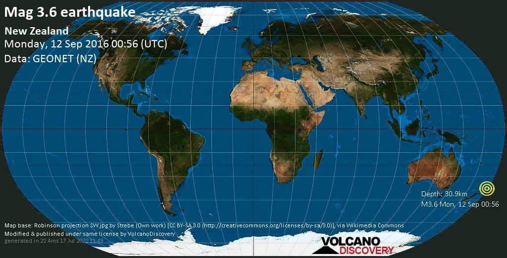 Minor mag. 3.6 earthquake  - New Zealand on Monday, 12 September 2016
