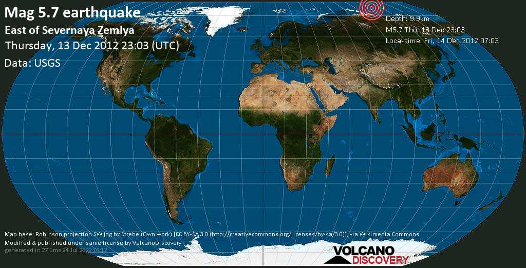 Moderate mag. 5.7 earthquake  - East of Severnaya Zemlya on Thursday, 13 December 2012
