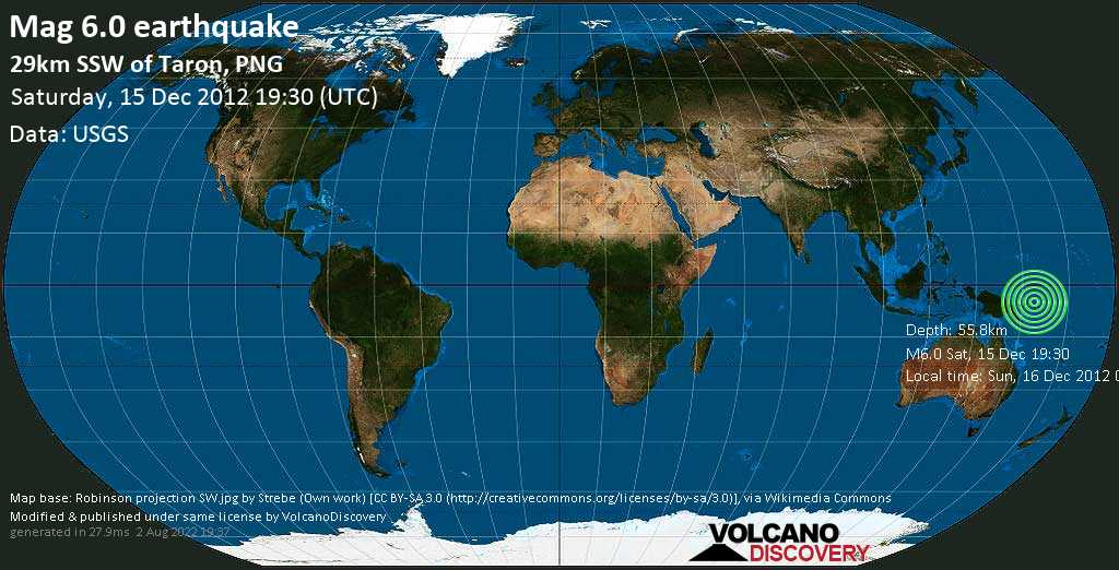 Strong mag. 6.0 earthquake  - 29km SSW of Taron, PNG on Saturday, 15 December 2012
