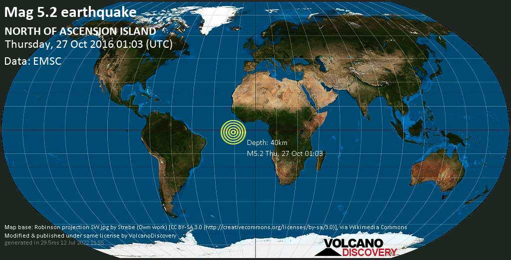 Moderate mag. 5.2 earthquake  - NORTH OF ASCENSION ISLAND on Thursday, 27 October 2016