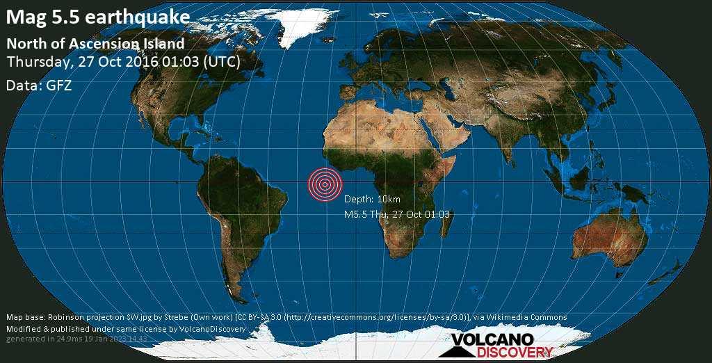 Moderato terremoto magnitudine 5.5 - North of Ascension Island giovedí, 27 ottobre 2016