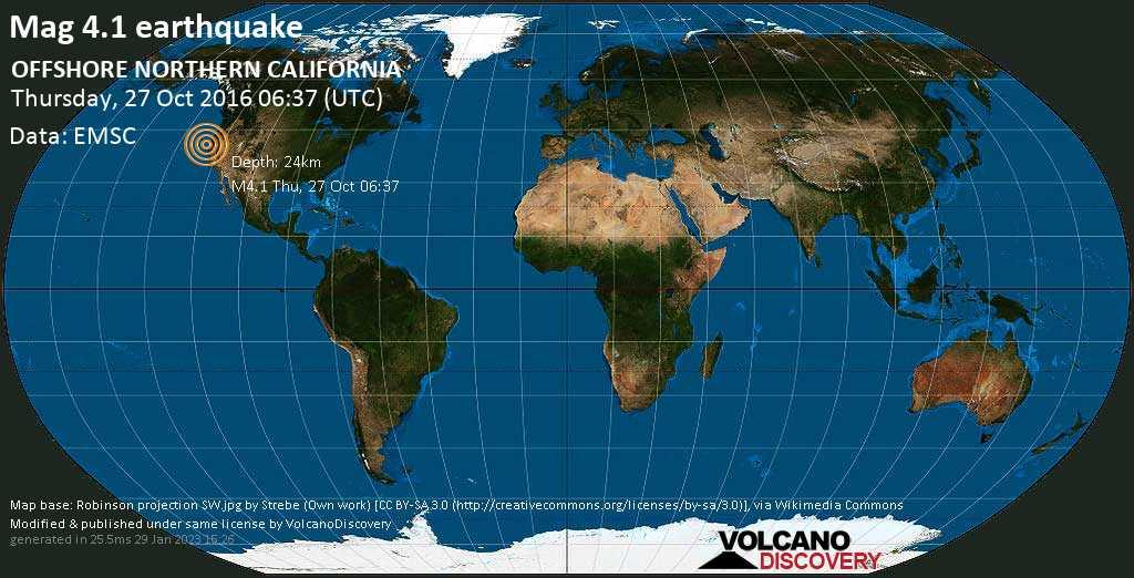 Light mag. 4.1 earthquake  - OFFSHORE NORTHERN CALIFORNIA on Thursday, 27 October 2016