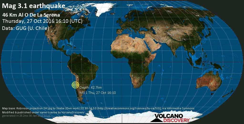 Débil terremoto magnitud 3.1 - 46 km al O de La Serena jueves, 27 oct. 2016