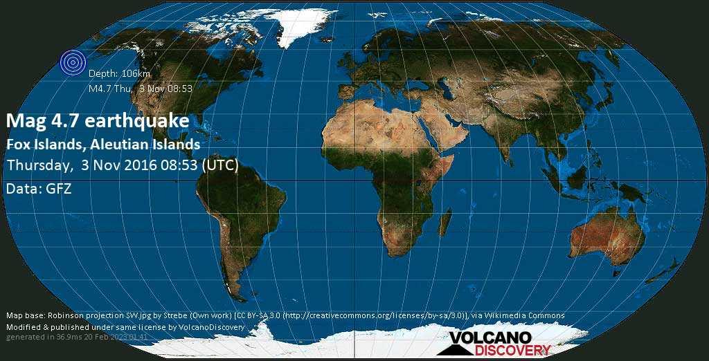 Light mag. 4.7 earthquake  - Fox Islands, Aleutian Islands on Thursday, 3 November 2016