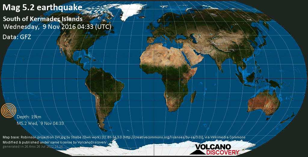 Moderate mag. 5.2 earthquake  - South of Kermadec Islands on Wednesday, 9 November 2016